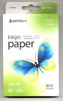 Фотобумага PGE2300504R PrintPro Photo paper glossy 230g/m, 10x15, 50pc.