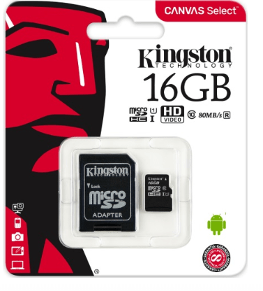 Карта памяти Kingston Micro SDHC 16 Gb Class 10 U1 A1 UHS-I, 100MB/s Canvas Select Plus + SD Adapter