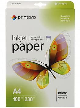 Фотобумага PME230100A4 PrintPro Photo paper matte 230g/m, A4, 100pc.