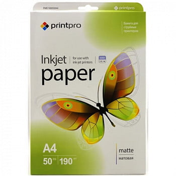 Фотобумага PME190050A4 PrintPro Photo paper matte 190g/m, A4, 50pc.