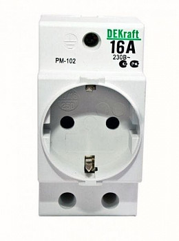 Розетка 16А 220В 2P+PEN на DIN-рейку PM-102 Schneider Electric 18012DEK