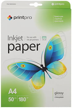 Фотобумага PGE180050A4 PrintPro Photo paper glossy 180g/m, A4, 50pc.