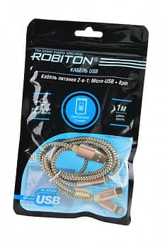 Кабель USB ROBITON P10 Multicord USB A - MicroUSB/8pin, 1м золото PH1