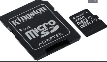 Карта памяти Kingston Micro SDHC 32 Gb Class 10 U1 A1 UHS-I, 100MB/s Canvas Select Plus + SD Adapter